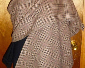 """Simply Sheila Designs up cycled wool shawl 18"""" wide by 80"""" long brown camel black plaid"""
