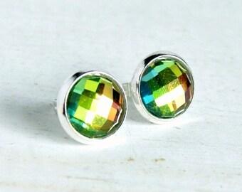 stud earrings, post earrings, colorful earrings, sparkle, gift for her, handmade