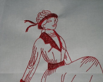 """Quilt Square,block,Embroidered Victorian Lady, 12"""" X 12"""" Fabric, white,Redwork"""