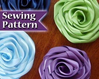How to Make a Ribbon Flower   Ribbon flower Instructions   Ribbon Rose   Make a Flower from Ribbon   PDF Tutorial   Making Ribbon Flowers