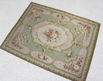 Miniature Carpet  Romantic Aubusson Green With Roses in Half Scale, 1:12 or Playscale