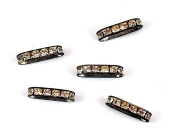 Vintage Rhinestone Double Strand Bead  - Two Strand Silver Bar Bead Spacer - One Pair - Wedding Supply - Jewellery and Craft Supplies