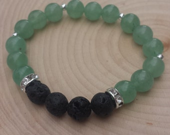 Green Aventurine Essential Oil Diffusing Bracelet