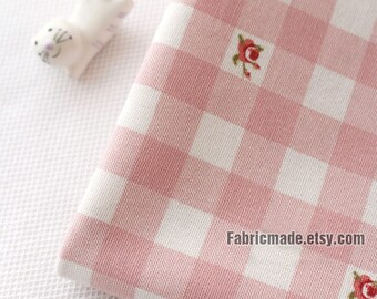 Cute Pink Linen, Light Pink White Plaid Tiny Pink Rose Cotton Linen Blend Fabric -1/2 Yard