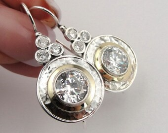 Long 925 Sterling Silver &  9K Yellow Gold Zircon Earrings, round earrings, Handmade CZ Earrings.  (ms e1303)