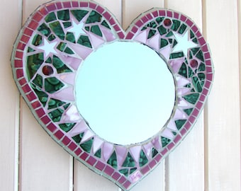 Unique Home Decor ~ Wall Mirror ~ Mosaic Mirror ~ Gift for her ~ Green and Pink Heart Mirror ~ Wall Art ~ Recycled Art ~ Mosaic Heart