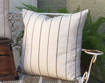 Woven Cream with Taupe Stripe  Pillow Cover   22x22     Designer Fabric in Cotton Woven with Texture and Stripes  Farmhouse / Modern Decor