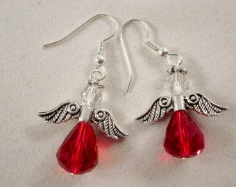 "Earrings ""Birthstone Angel - January""  - Siam - Artisan Lampwork Glass Earrings, SRAJD, OOAK"