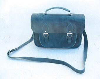 Blue Leather Messenger, 10 COLOURS, 17 '' laptop bag, Leather camera bag, sac a bandouliere,sacoche cuir, sac a cuir, sac plombier cuir