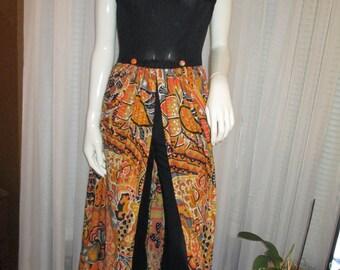 1970's Ladies Art Deco One Piece PANT DRESS,,,no Label