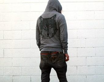 Grey Wolf Zip Hoodie