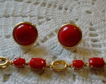 Red Metal Bracelet/Two Clip on Earrings Set: