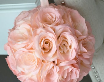 "Pink Blush flower ball, WEDDING CENTERPIECE, pink blush pomander kissing ball, flower girl 7"" 8"" 10"" 12 14"" 16"" 18"""