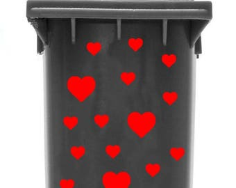 Bin Sticker 'Hearts' (font colour: orange)