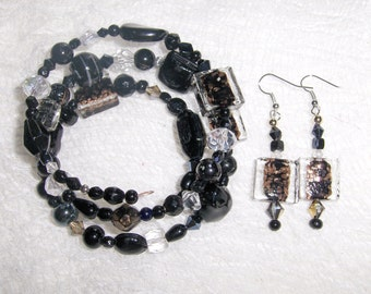 Black Tie Affair Glass and Ceramic Bead Gypsy Bracelet and Earring Set handmade