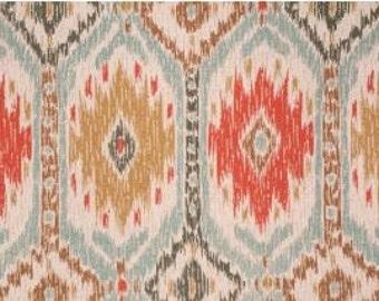 "Two 50"" wide rod pocket designer curtain panels, drapes P Kaufman poncho geyser"