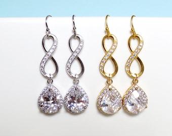 Infinity, Cubic, Gold, Silver, Earrings, Crystal, Cubic, Zirconia, Earrings, Birthday, Wedding, Bridal, Bridesmaid, Gift, Jewelry