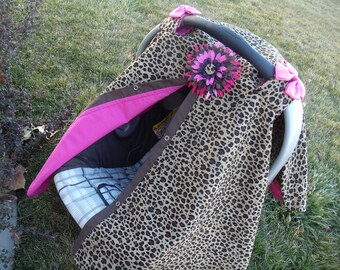Carseat Canopy Hot Pink Cheetah Girl carseat cover