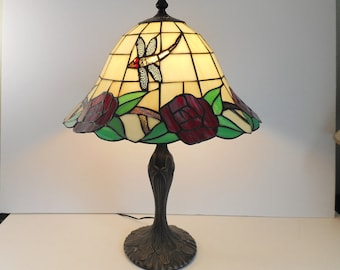 Stained Glass Lamp with Dragonflies and Red Roses