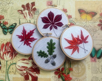 Fall Foliage by mlmxoxo.  Acorn.  Autumn Leaves & Flowers.  Chestnut leaf.  Japanese maple.  Canadian maple. Sunflower.  embroidery hoop art