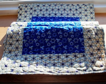 Quilted Table Runner Hannukkah Star of David Royal Blue Gold White Chanukah