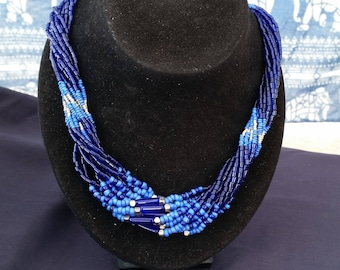 COBALT BLUE SEED Bead Necklace. Twisted Multistrand Short Necklace with Blue, Silver Seed Beads. Inspired by African Tribal Style. 19 inches
