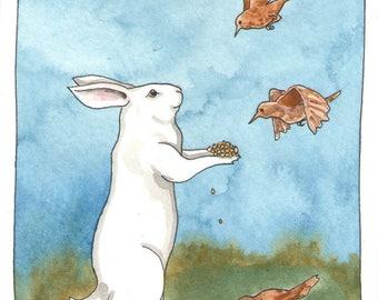 Original Watercolor Rabbit Painting - Bird Seed