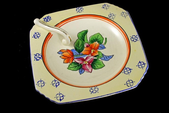 Square Lemon Dish, Lemon Tray, Tray With Handle, Floral Design, Made in Japan