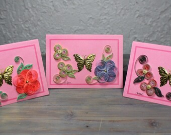 Greetings card, quilled card, gold butterfly, blank card, quilled flowers, quilling
