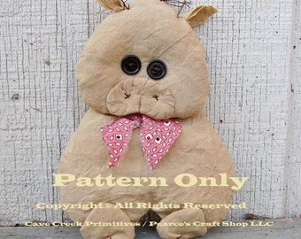 Primitive Pig Pattern, Craft Patterns, Primitive Pigs, Sewing Patterns, Primitive Animals, Farmhouse Decor, Animal Patterns, Primitive Dolls