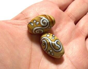 Tan and White Swirl Ceramic Oblong Beads - 14mm x 20mm - (2)