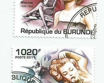 2 Marilyn Monroe Used Postage Stamps from Burundi