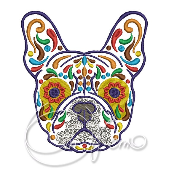 Machine embroidery design calavera french bulldog dia de for Embroidery office design version 9