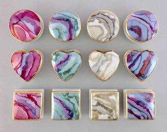 12 assorted - Ring Boxes, Tooth Fairy Boxes, Wedding Favor Boxes ~choose Heart, Round, or Square in Rose, Honey, Blue or Green - mix & match