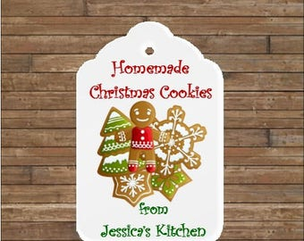 Personalized Christmas Cookie Tags   Christmas Tags   Homemade Christmas Cookies