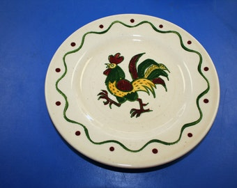 Vintage Counrty Metlox Poppytrail Rooster Bread/Dessert Plate.
