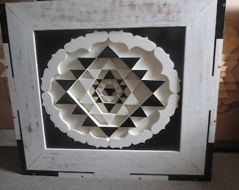sri yantra hand crafted 1 metre! wooden large wall art