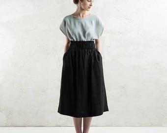 Long linen skirt, Midi skirt with elastic, Long black linen skirt, Long skirt, Linen women's clothing, Custom color skirt with pockets