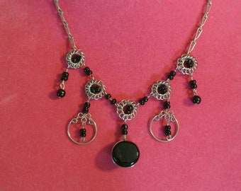 A Fun Silver and Black Bead Necklace