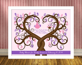 Baby Shower Thumbprint Tree, Guest Book Alternative Babyshower, Baby Guestbook Wall Art Print, Baby Girl, First we each other