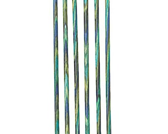 Size 0 Caspian Ocean Inspired Blue Teal Green Wood Knitting Double Point Needles 5 inch Long Set of 6 needles