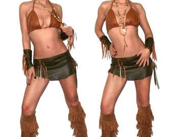 1 Layer real leather pixie skirt, Burning Man, wasteland skirt,warrior princess, Pocahontas skirt, post apocalyptic, Festival, Medieval
