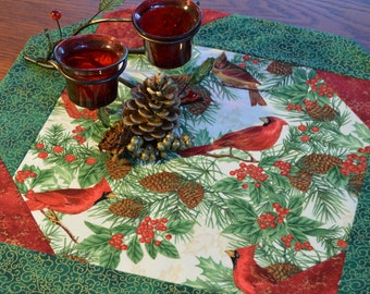 Red Cardinal Table Topper,  Octagonal, Christmas Table Decor, Winter,  Cardinals Bordered  With  Red and Green  Table Decor