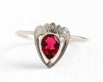 Sale - Simulated Ruby Ring - Vintage 1920s Art Deco Era 10k White Gold - Stick Pin Size 8 1/4 Pink Red Glass Stone Fine Jewelry