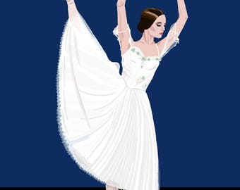 Giselle Ballet Print, Giselle Ballerina Illustration, Giselle Wall Art, Giselle Ballet Art, Giselle Poster, Giselle Print