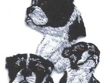 Embroidered BOSTON TERRIER Dog Breed Iron-on/Sew on Patch Badge Applique DIY....choose style