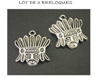 set of 3 Silver tribal Aztec feather (B28) cowboy Indian head charms