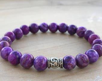 Sugilite Bracelet, Spiritual Bracelet, Boho Bracelet, Yoga Bracelet, Mala Bracelet, Wrist Mala, Healing Bracelet, Energy Bracelet