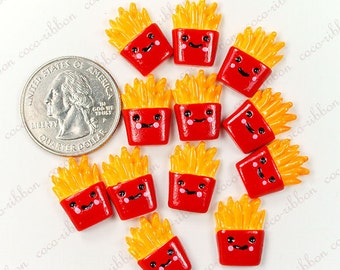17mm 12pc Smile Face French Fries FLAT BACK RESINS Cabochons A25