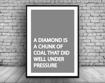 Home Decor Poster Wall Art Hanging Grey Diamond Quote Interior Design